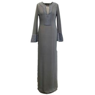 Amanda Wakeley Grey Silk Embroidered Kaftan Dress