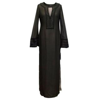 Amanda Wakeley Black Silk Embroidered Kaftan Dress