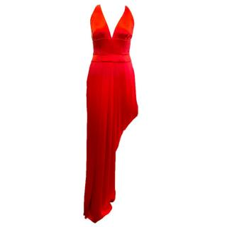 Amanda Wakeley Red Silk Maxi Evening Dress