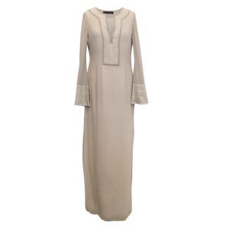 Amanda Wakeley Beige Silk Embroidered Kaftan Dress