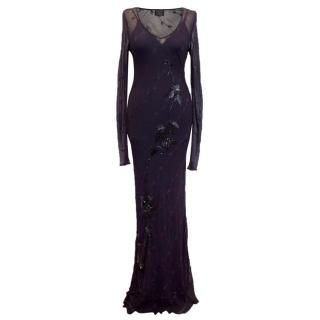 Helen David Sheer Silk Embroidered Navy Dress