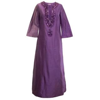 P.A.R.O.S.H. Purple Silk Kaftan Dress with Sequins