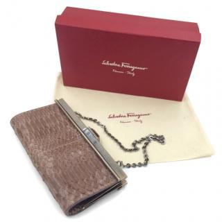 Salvatore Ferragamo Python Evening Clutch Hand Held Bag & Gift Box