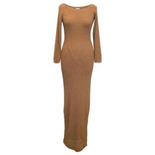 Amanda Wakeley Tan Off The Shoulder Maxi Dress