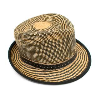 Rodkeenan Black and Beige Woven Straw Trilby Hat