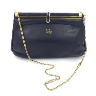 Christian Dior Vintage Black Leather Evening Shoulder Bag