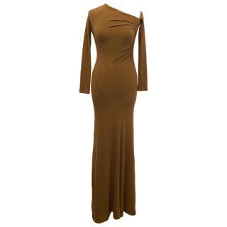 Donna Karan Brown One Shoulder Maxi Dress