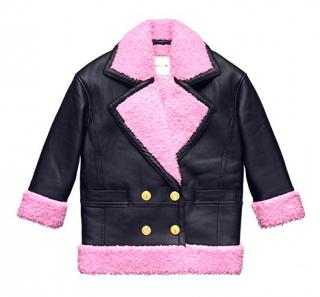 KENZO x H&M Black Leather Jacket with Pink Faux Fur Lining