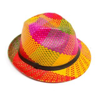 Etro Multicolour Woven Straw Trilby Hat
