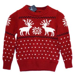 Gant Kids Red Reideer Cotton Christmas Jumper