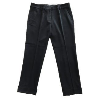 Dinou by Joaquim Jofre black crepe stretch wool mix pants