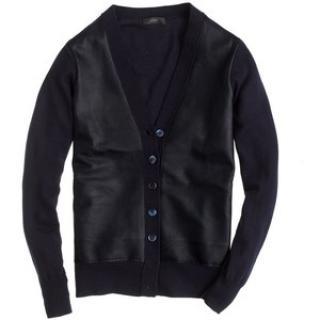 J Crew Black Leather And Merino Wool Cardigan