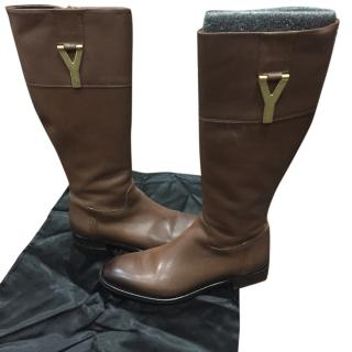YSL brown leather riding boots