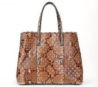 Alaia Python & Orange Leather Perforated Shopper