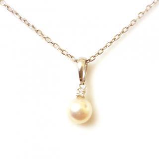 Mikimoto Pearl & Diamond Pendant 18ct Gold