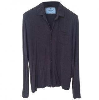 Prada men's silk long sleeved button down shirt