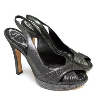 Rene Caovilla Grey Metallic Slingback Heels