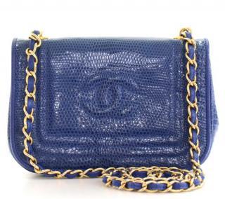 Chanel Blue Vintage Lizard Skin Flap Bag