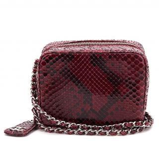 Chanel Raspberry Python Leather Mini Timeless Bag