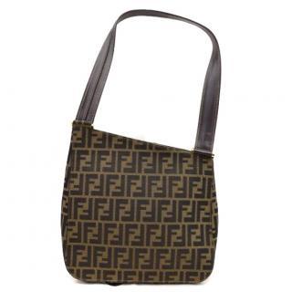 Fendi Shoulder Bag Brown Zukka Canvas