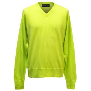 Richard James Mens' Lime Green Cashmere Jumper