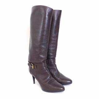Sergio Rossi Dark Brown Leather High Heel Boots