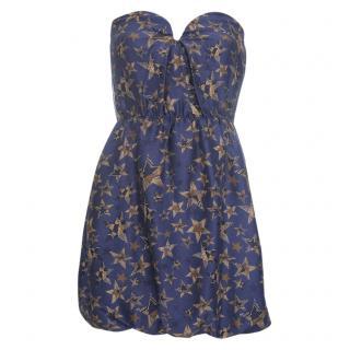 See by Chloe Star Print SIlk Bustier Mini Dress