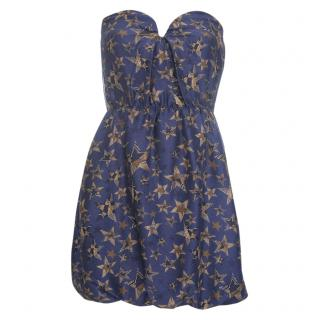 See by Chloe Star Print SIlk Bustier Mini Dress