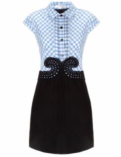 Carven Gingham and Lace Short Dress