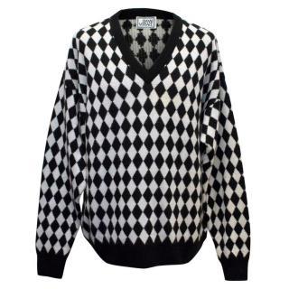 Gianni Versace Black and White Diamond Print Mens Jumper