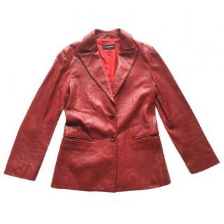 Franck Namani Paris red leather blazer