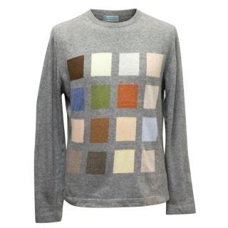 Clements Ribeiro Mens' Grey Geometric Pattern Cashmere Jumper