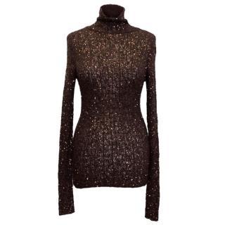 Donna Karan Plum Sequin High Neck Sweater