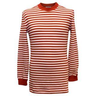 Gianni Versace Men's Red Striped Jumper