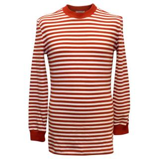 Gianni Versace Men's Red Striped Jumper