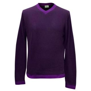 Clements Ribeiro Mens' Purple Cashmere Jumper