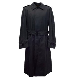 Burberry Vintage Navy Blue Mens Long Trench Coat