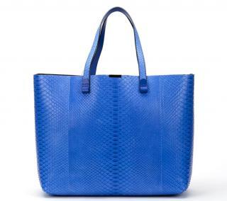 Victoria Beckham Peacock Blue Python Simple Shopper
