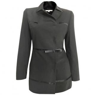Paule Ka black wool mix crepe blazer with satin trims