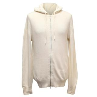 Richard James Cream Zipped Cashmere Mens Hoodie