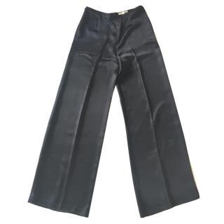 Paule Ka Black Loose Shiny Satin Crepe Trousers