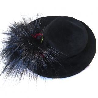 Philip Treacey Black Velvet Felt Winter Hat