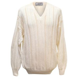 Gianni Versace Cream Shiny Knitted Mens Jumper