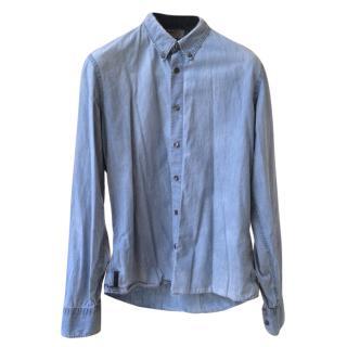 Prada Men's Pale Denim Cotton Long-Sleeved Shirt