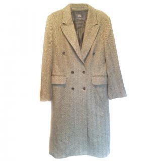 Burberry Grey Herringbone Tweed Coat VGC