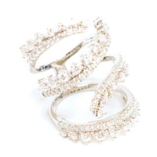 Bespoke White Gold Diamond Spiral Ring