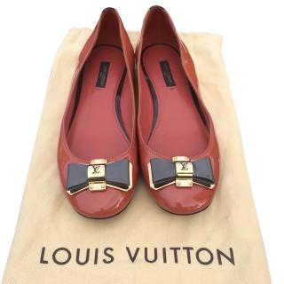 Louis Vuitton Ballet Flats Loafers  Bow Patent Leather