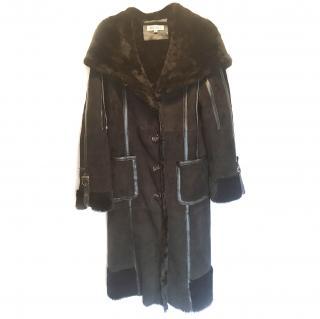 Balmain Black Shearling hooded coat VGC
