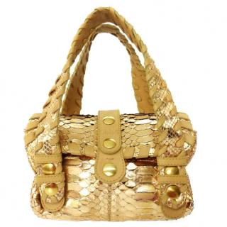 Chloe Gold Silverado Python Leather Handbag