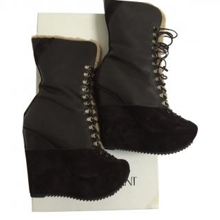 YSL Brown Wedge Ankle boots